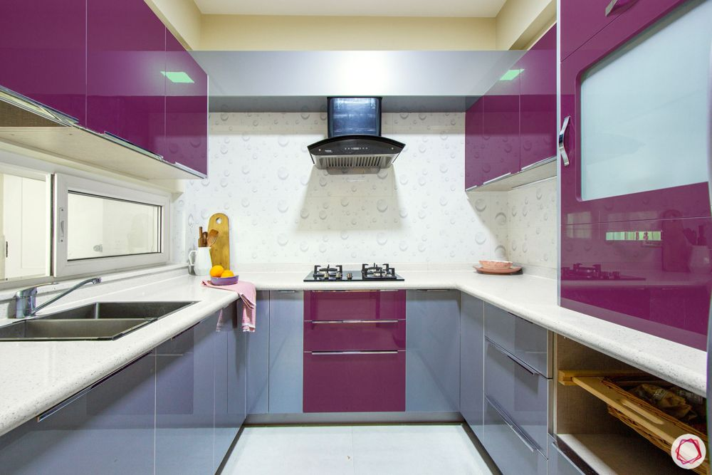purple kitchen cabinets-acrylic kitchen cabinets