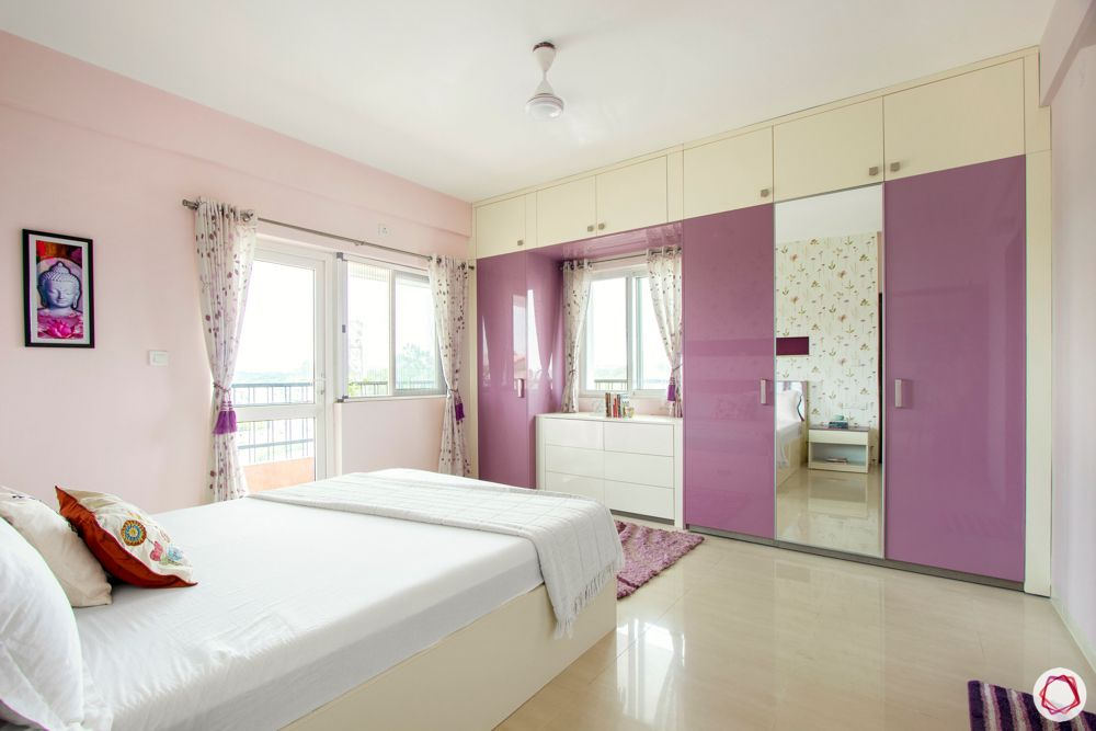 pink bedroom designs-lilac wardrobe designs