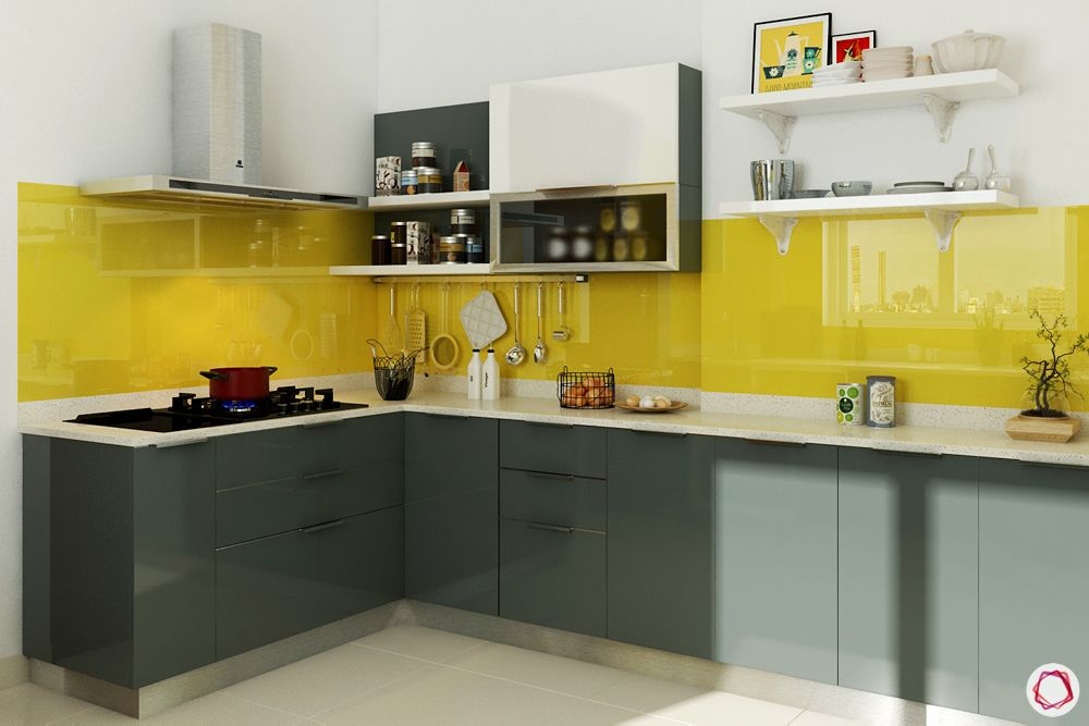 how to design your kitchen on a budget-yellow backsplash-open shelves-wire racks