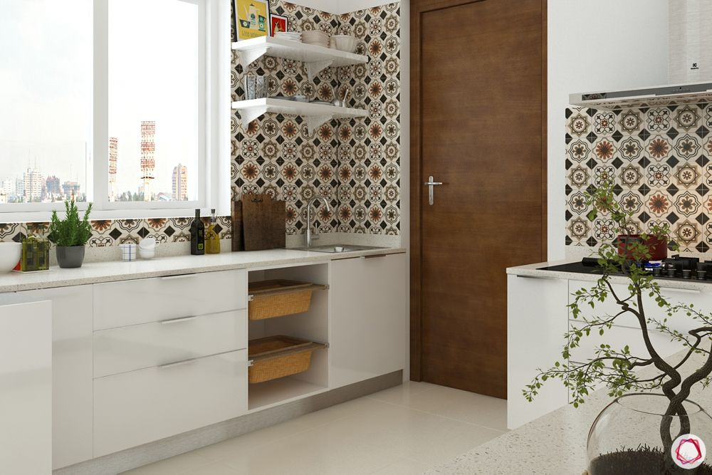 how to design your kitchen on a budget-open shelves-kitchen window-wicker basket