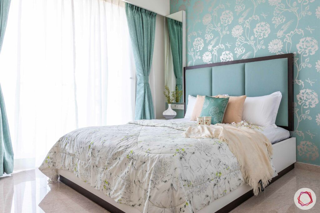 cyan green bed-green curtains-green and silver wallpaper