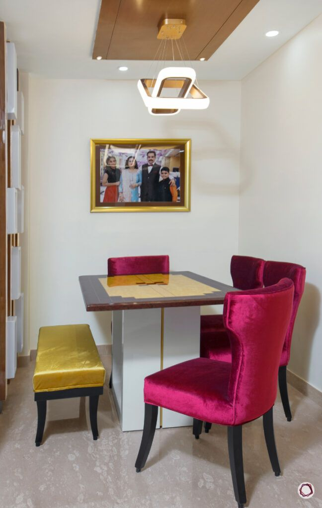 home furnishing fabric-red silk chairs-yellow bench-dining table designs