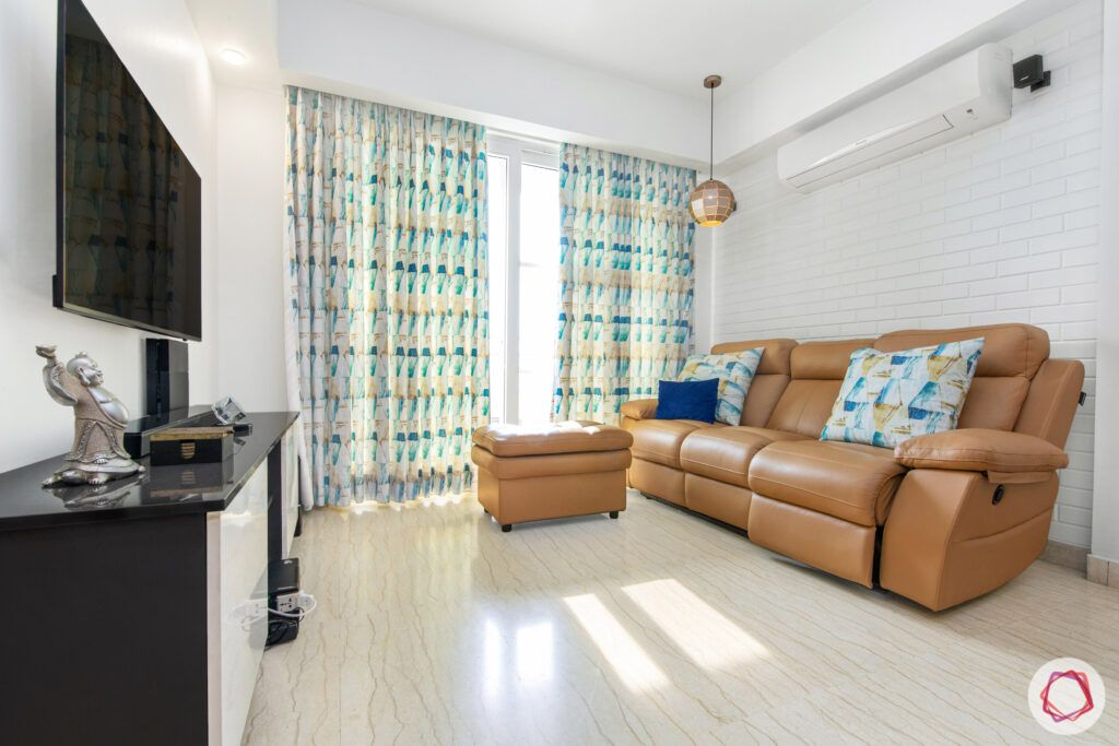 house in gurgaon-recliner designs-brown leather sofa