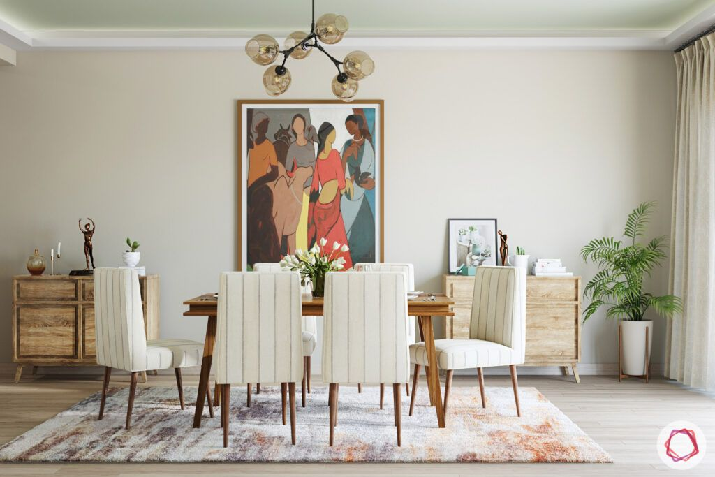 masaba gupta-dining room-wooden dining table-wall painting