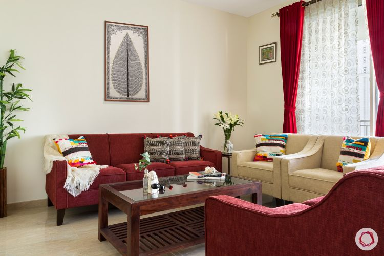 red sofa designs-white wall designs-red curtain designs