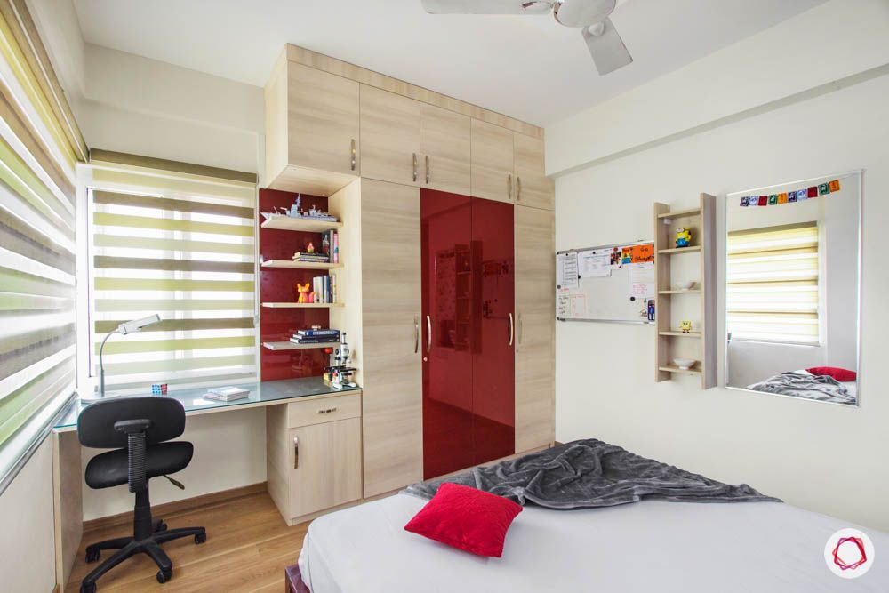 wardrobe design ideas-study table-display units-wood and red