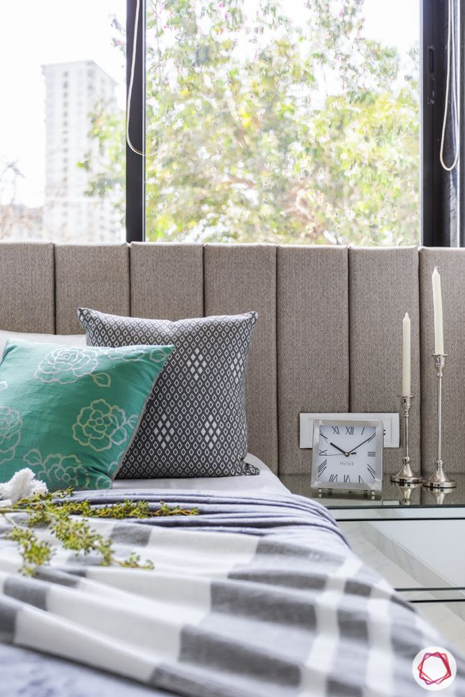 flat interiors-bedroom-cushions-side table