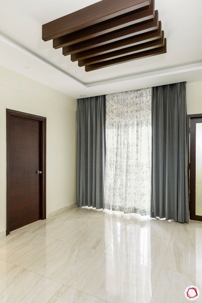 hallmark-tranquil-dining-room-wooden-rafters-white-floor-tiles-grey-curtains