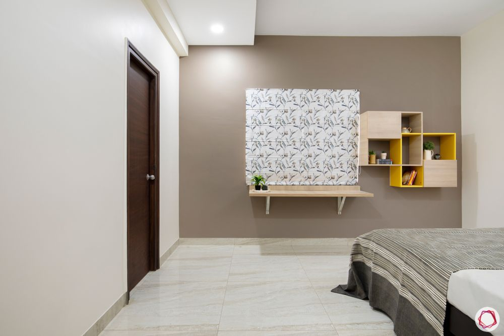 hallmark-tranquil-bedroom-painted-shelves-mounted-study-shelves