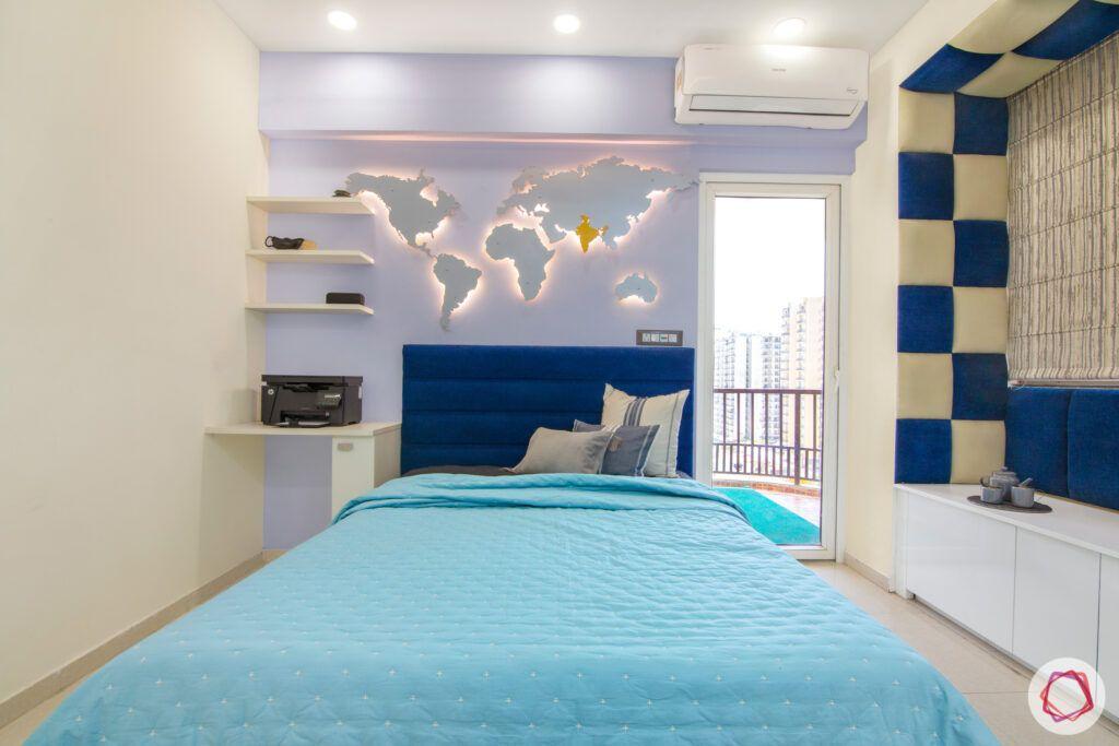 backlit wall mount-blue headboard-blue bedding-blue and white bay seating