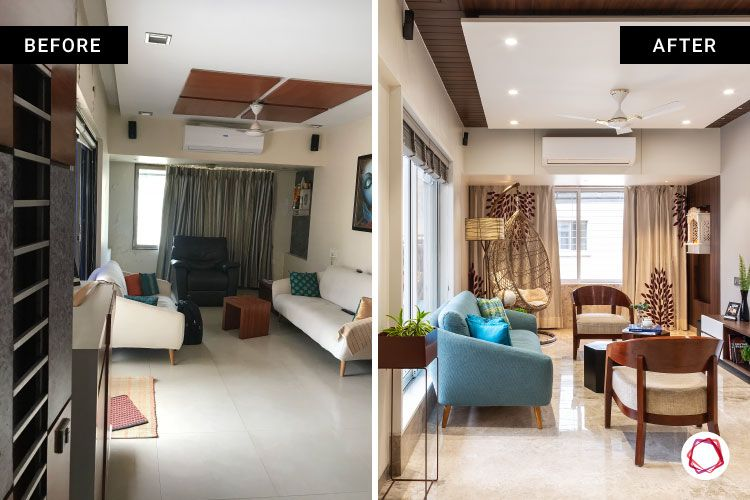 home renovation mumbai-blue sofa-wooden chairs-wooden centre table-swing chair-window designs