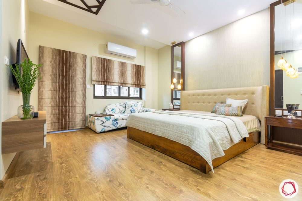 ardee city-master bedroom-wooden flooring-soft headboard-mirror and side table-coffee nook
