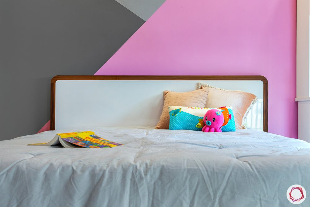 ardee city-daughter's room-white and pink study unit-grey bed-white headboard