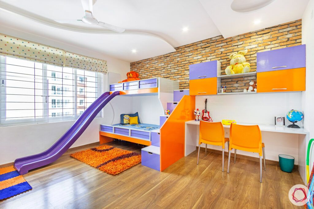 orange kids room-kids room with slide