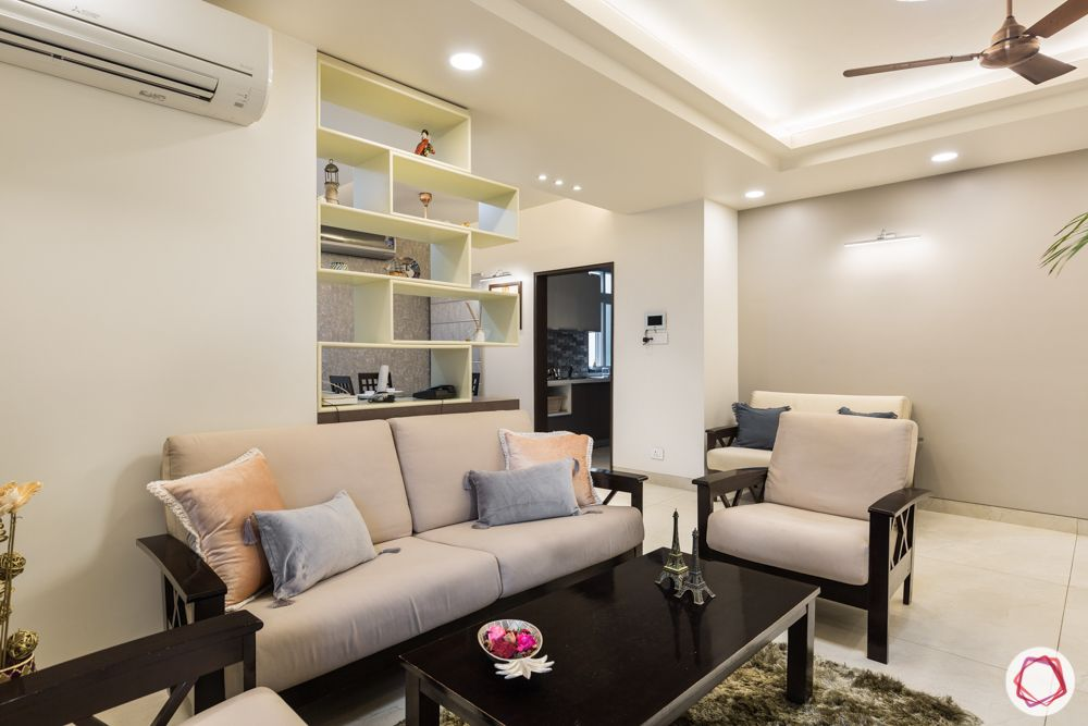 interior 3bhk for flat-display unit-partition designs-wooden sofa