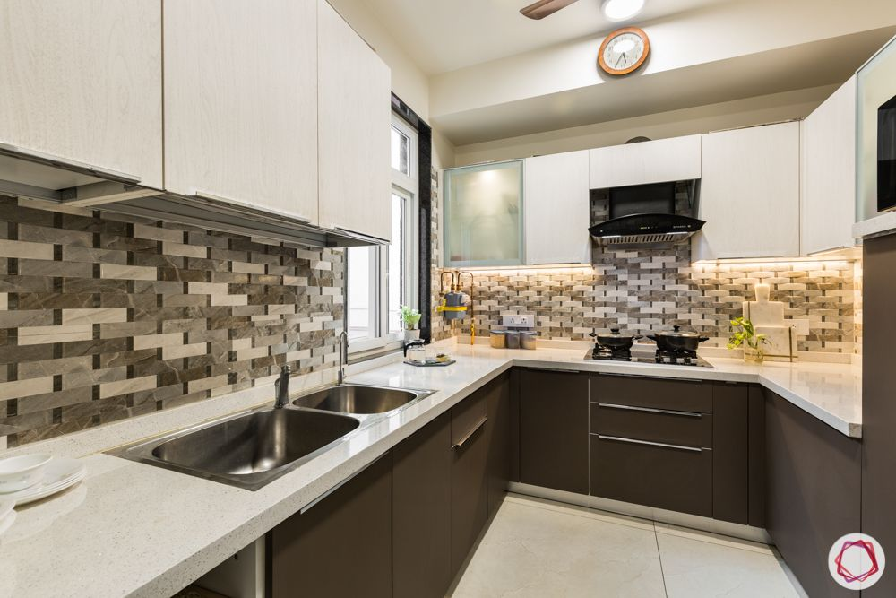 interior 3bhk for flat-kitchen layout-brown and white cabinets-cabinet basket