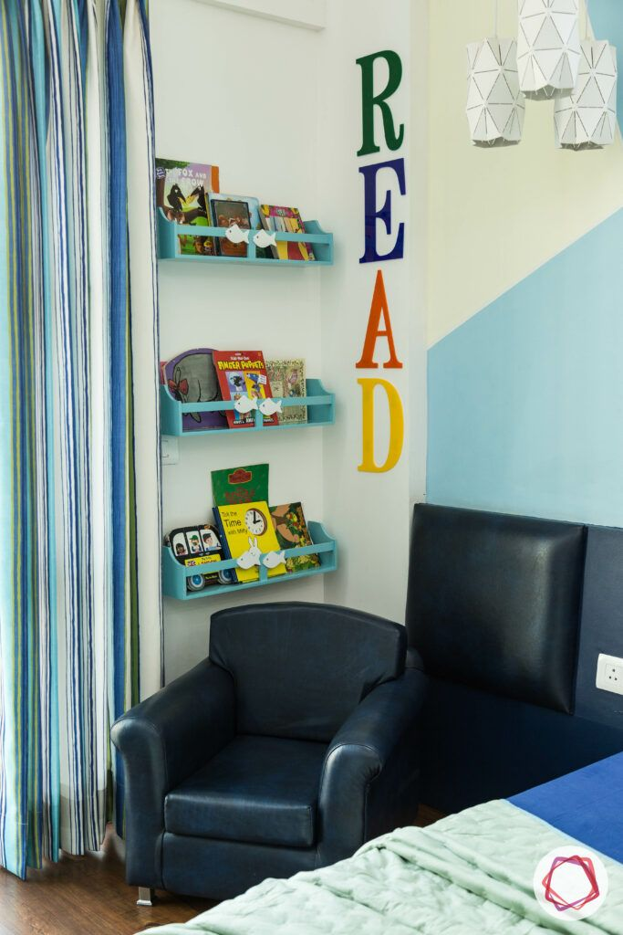 blue reading chair-reading corner designs
