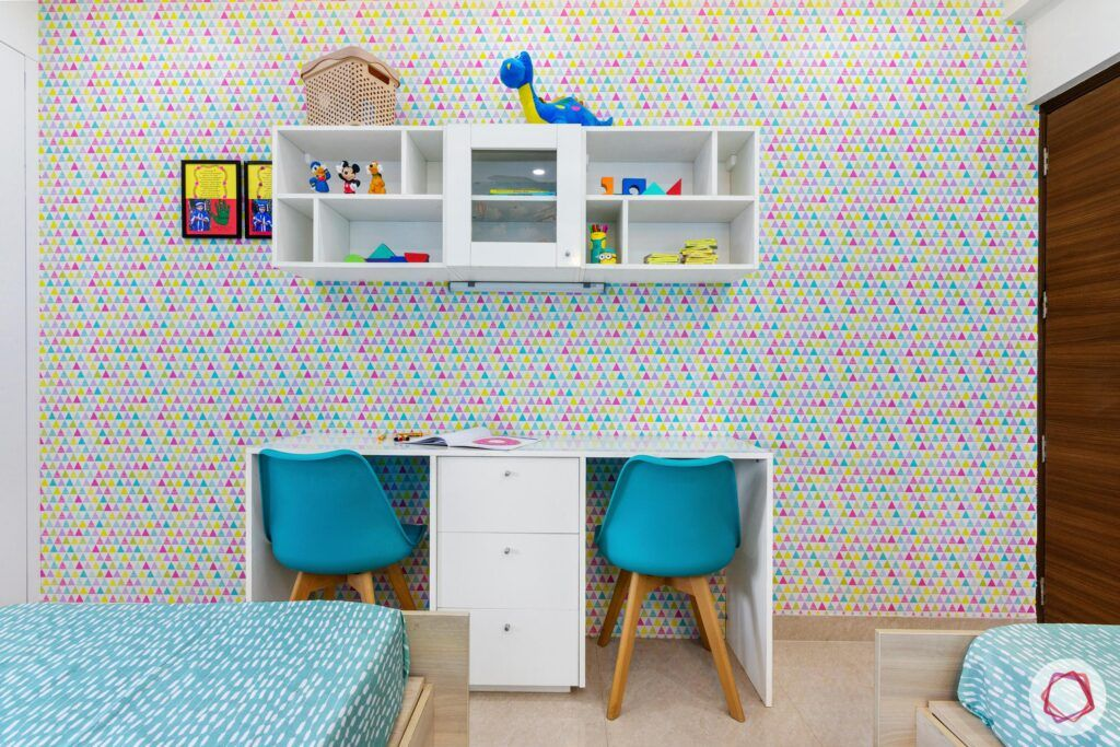 blue study chairs-kids room wallpaper ideas