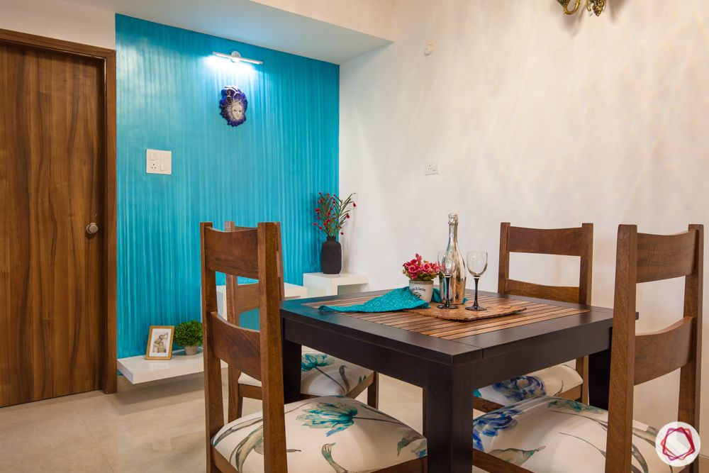 western hills baner-blue accent wall-dining room