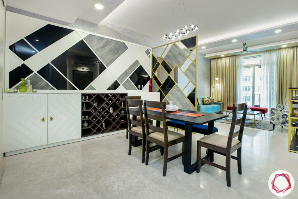 room divider ideas-gold and grey partition designs-wine cabinet-dining table designs