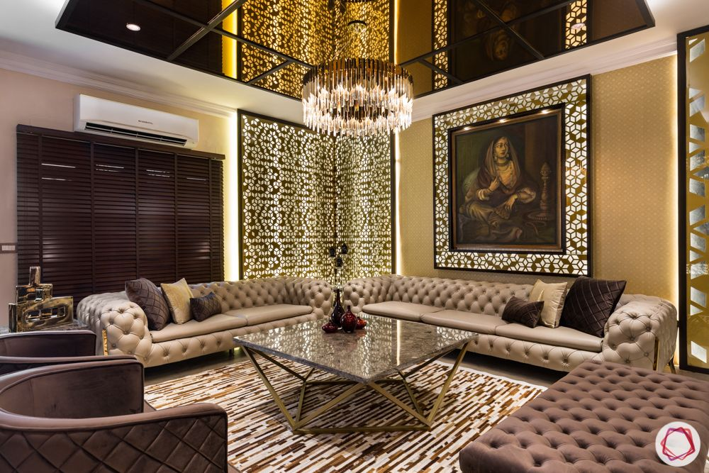 Luxurious Living Room For A Delhi Flat