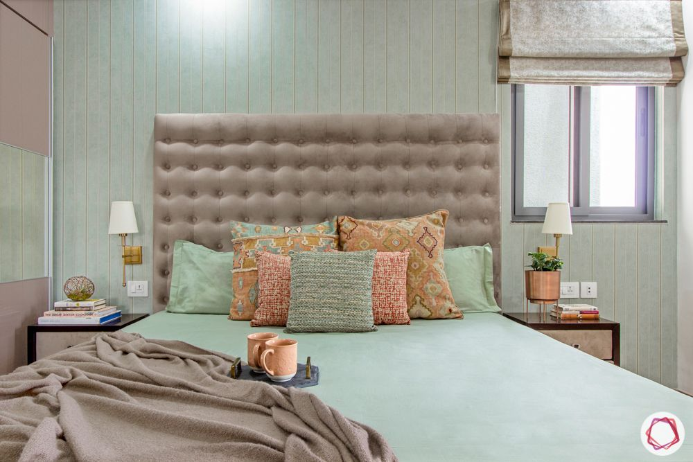 snn raj etternia-master bedroom-pink bed-pink headboard-pillow cushions-white and gold bedside lamps