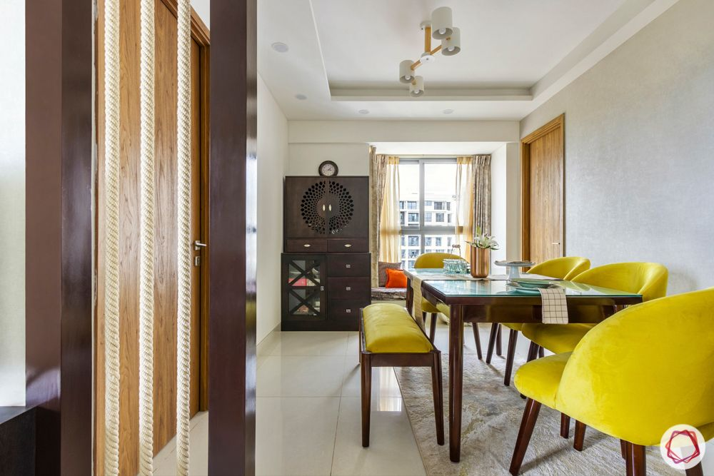 snn raj etternia-dining room-3-rope partition-yellow chairs-pooja unit-bay window