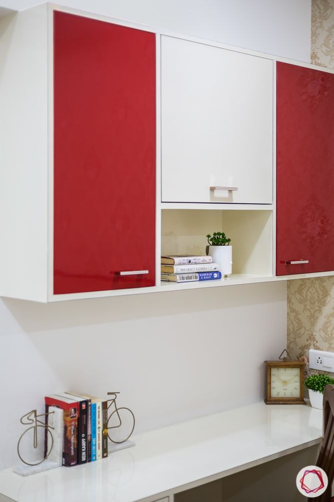 2bhk flat design-red cabinet-study table