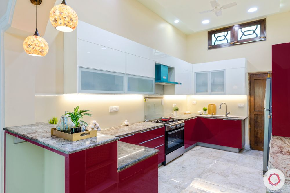 kitchen-renovation-red-base-units-white-wall-units