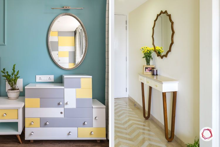 decorative wall mirrors-oval mirrors-cabinets-foyer