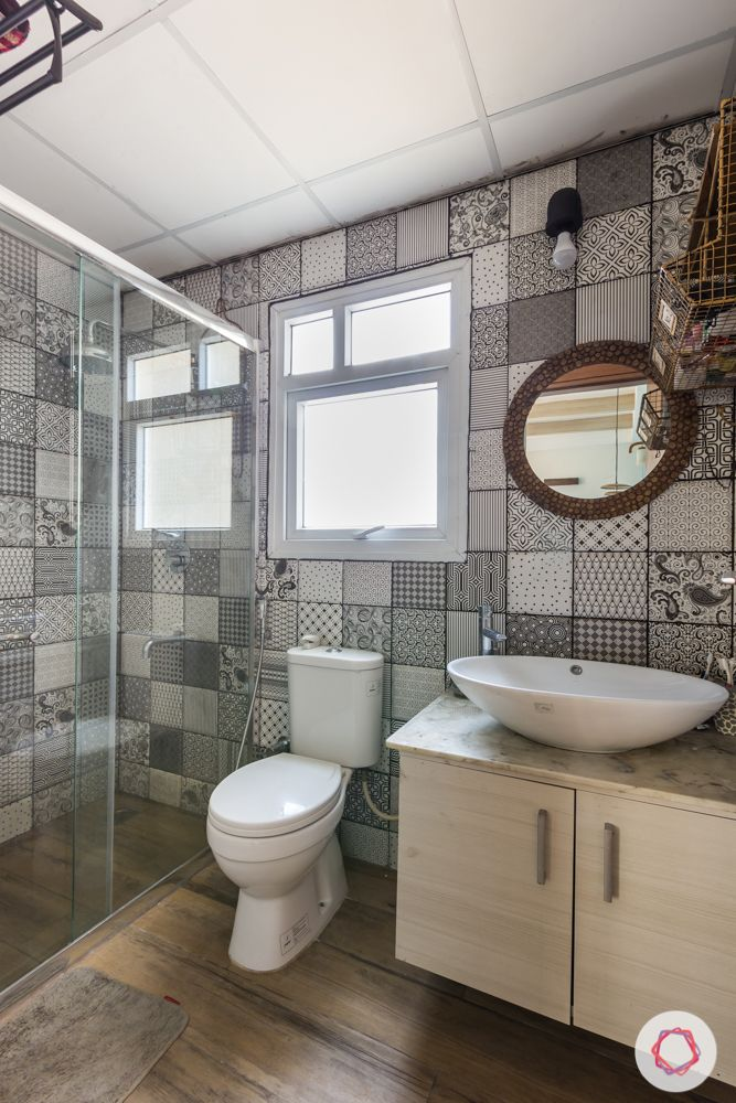 etched tiles for bathroom-black and white bathroom tiles
