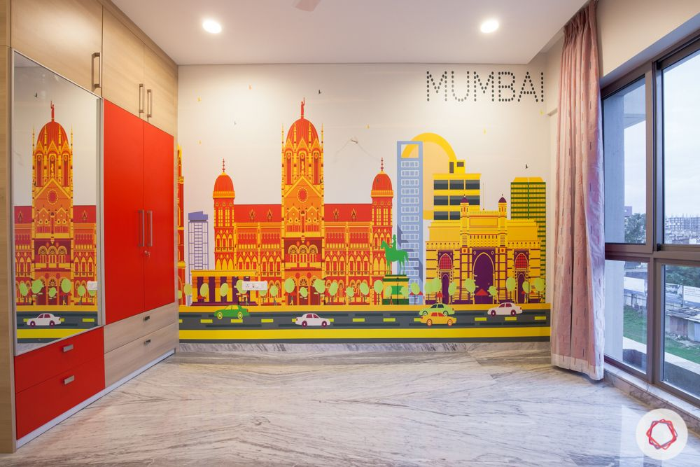 home in pune-mumbai skyline wallpaper-wardrobe