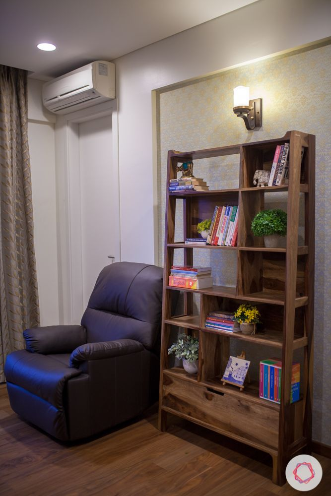 bookshelf-storage room-recliner