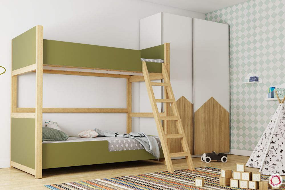 Bunk bed for kids-green bunk bed-wooden ladder-white wardrobe