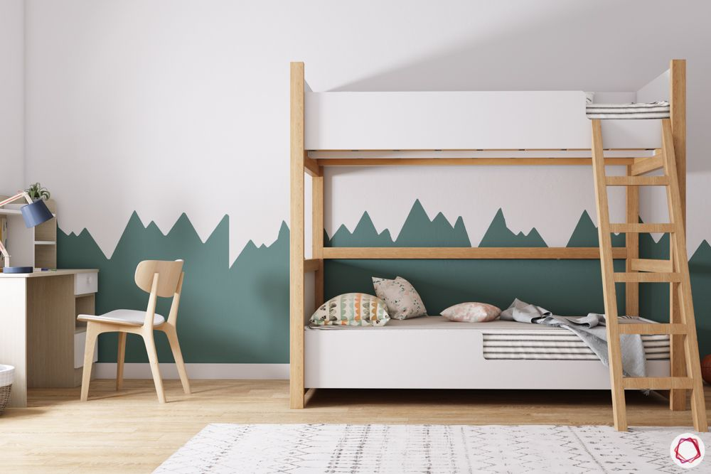 Bunk bed for kids-wooden ladder-white and green wallpaper-study table