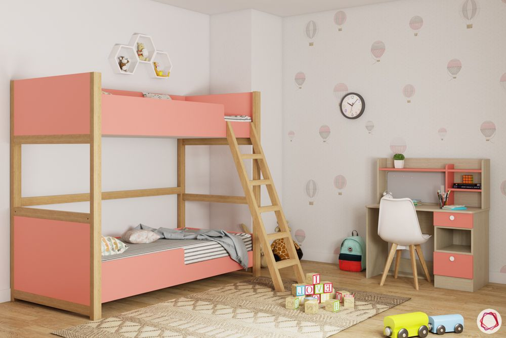 Bunk bed for kids-pink bunk bed-wooden ladder-study unit