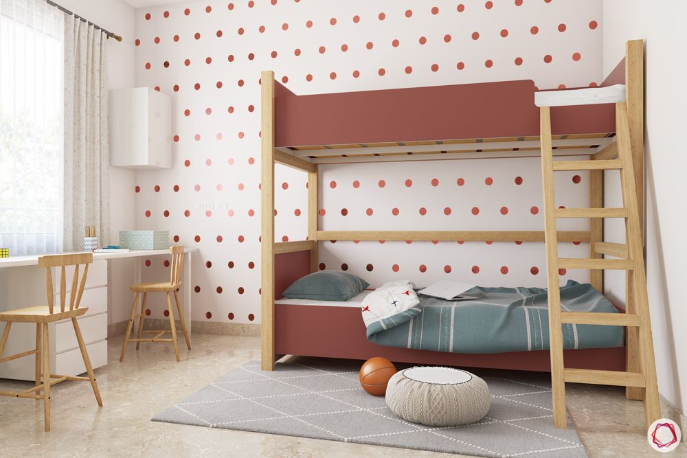 Bunk beds for kids-brown bunk bed-polka dotted wallpaper-white study unit