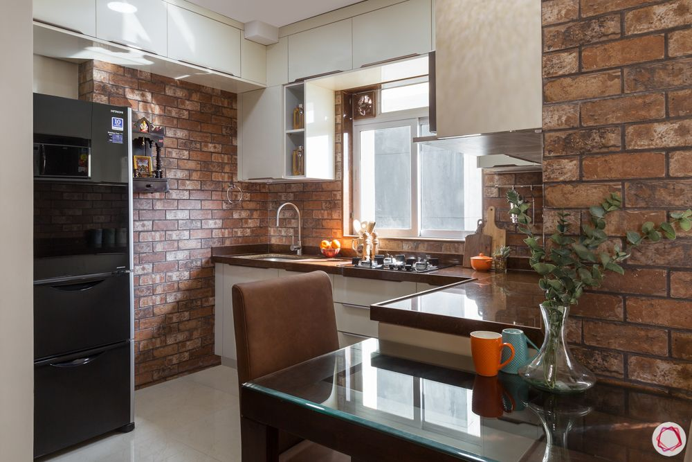 space saving ideas for small flats-exposed brick wall designs-open kitchen designs