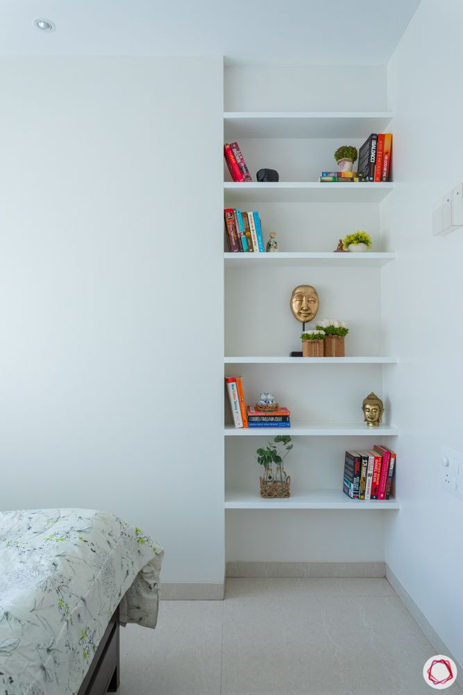 space saving ideas for small flats-white wardrobe designs-wall shelf designs
