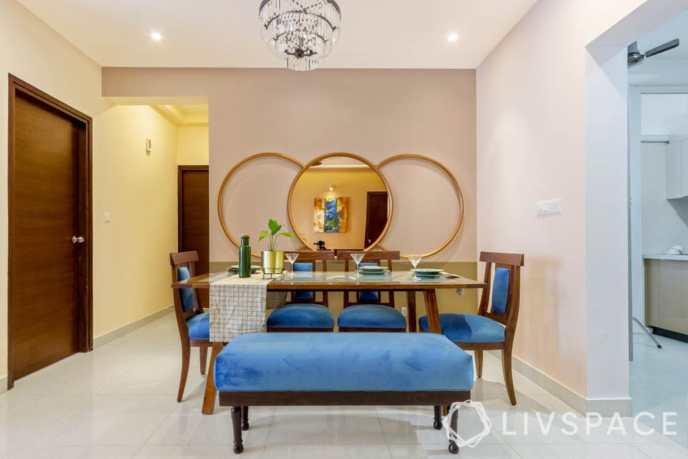 blue bench-blue dining chairs-mirror designs