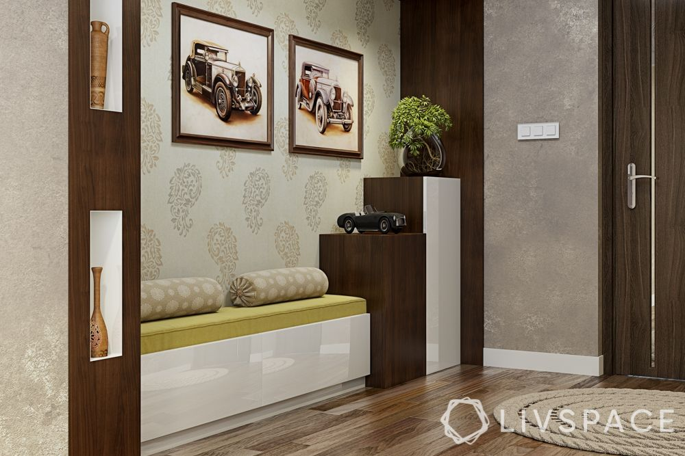 Foyer design-seating-wall niche-shoe cabinet