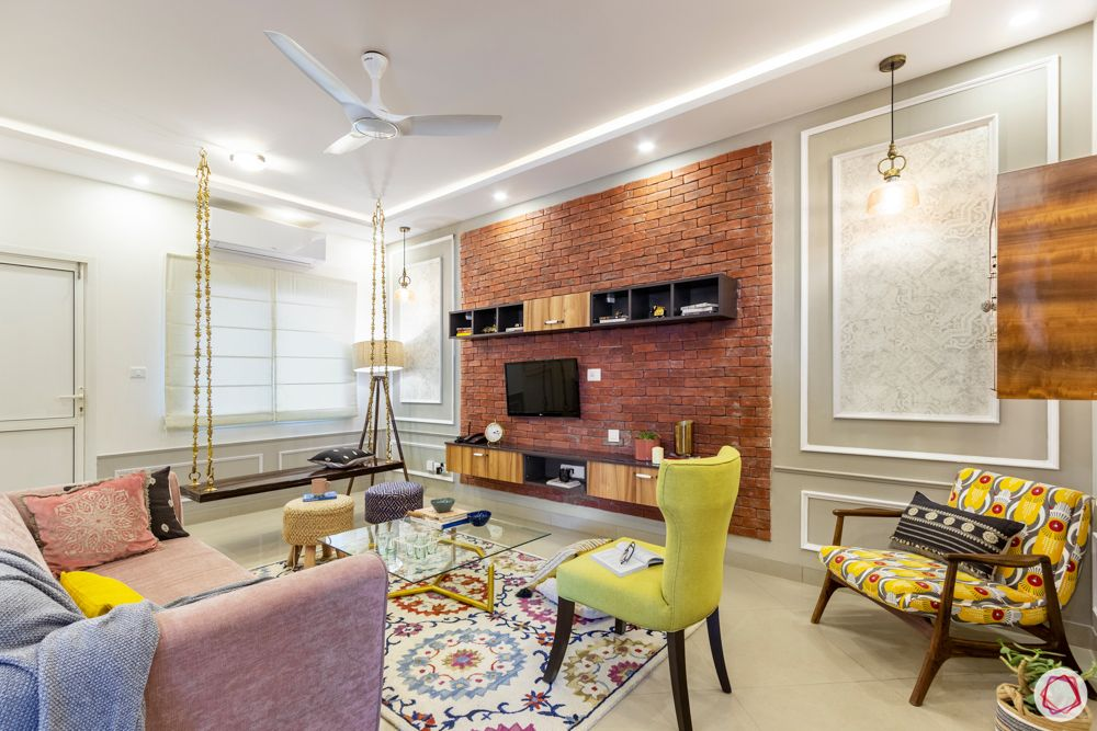sobha-aspire-living-room-laminate-tv-unit-exposed-brick-wall