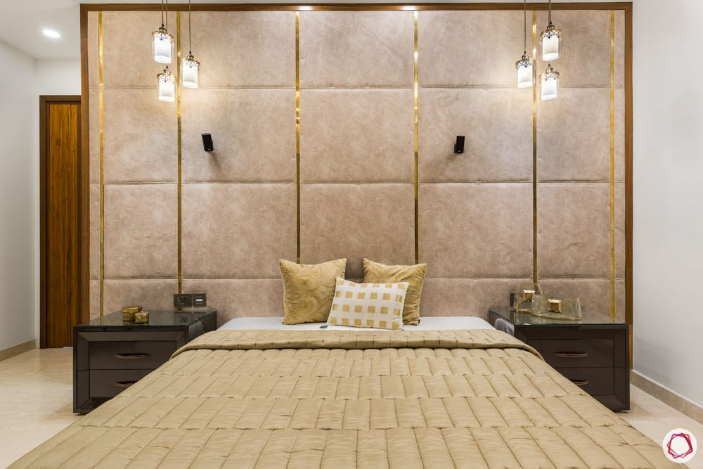 DLF-capital-greens-bedroom-classy-fabric-wall-pendant-lights-gold-bed