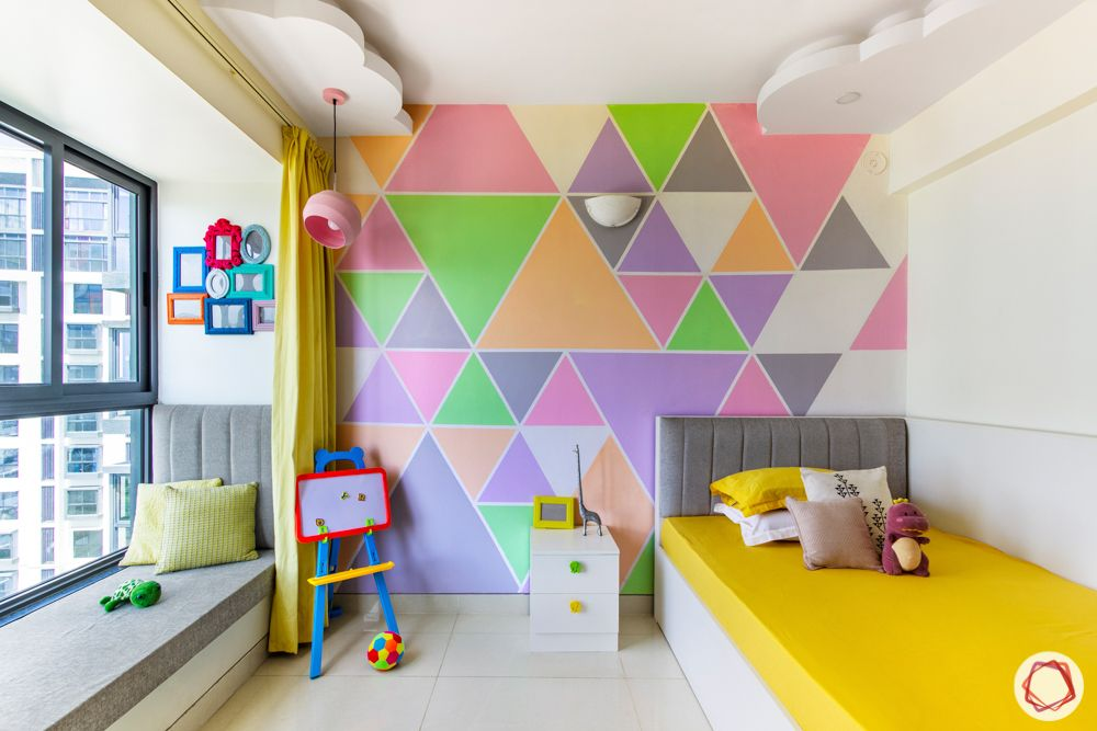 kids bedroom-colourful-wall stencil-bed frame designs