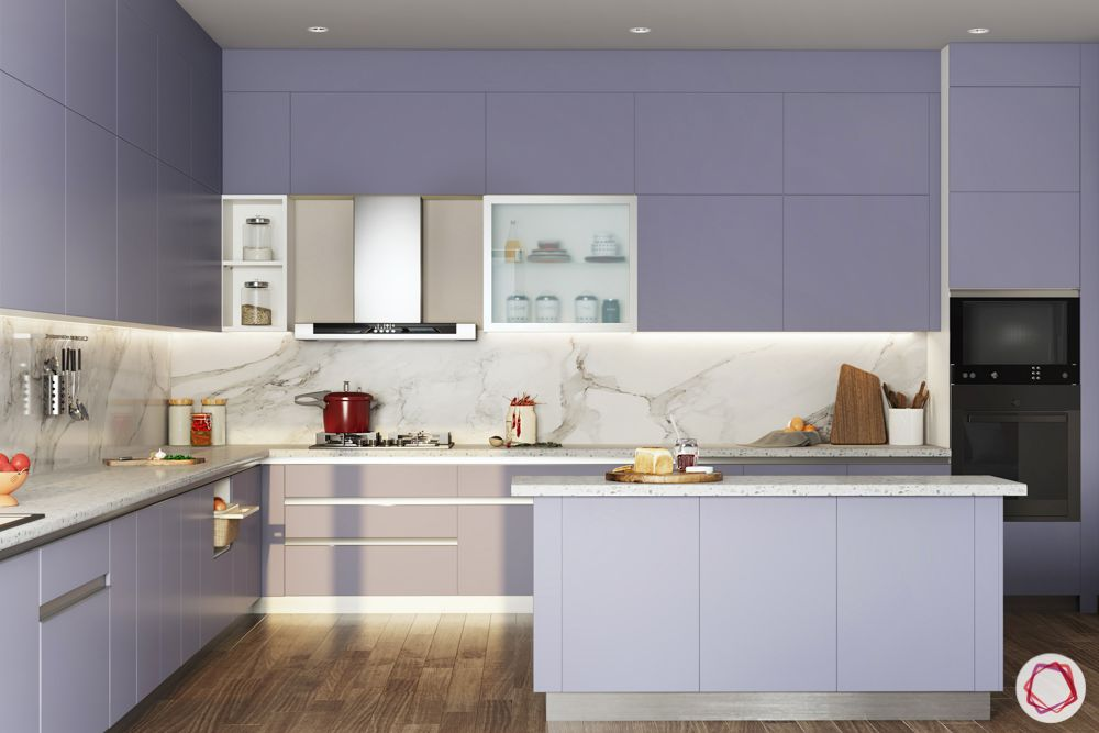 L-shaped-kitchen-lilac-purple-kitchen-island-marble-backsplash