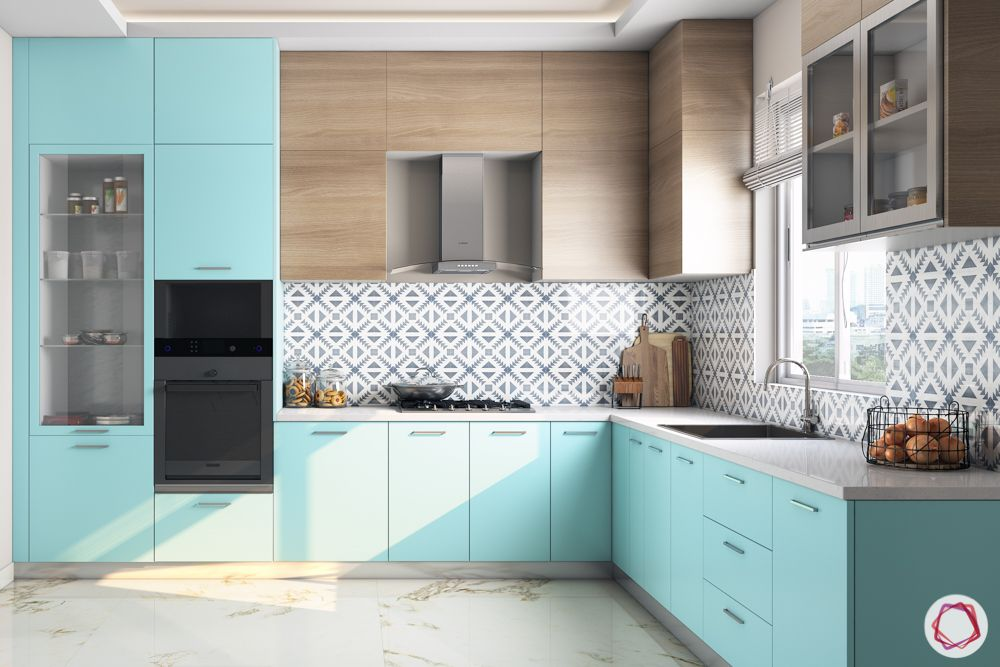 L-shaped-kitchen-blue kitchen-sink-cabinet designs-wall cabinet