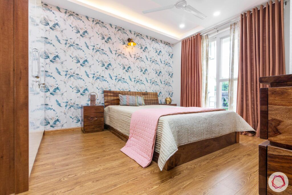 interior-in-gurgaon-master-bedroom-wooden-bed-floral-wallpaper