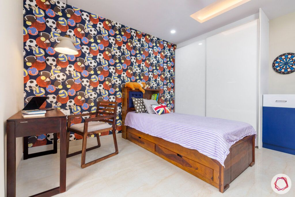 interior-in-gurgaon-kids-room-kids-wallpaper-sofa-cum-bed