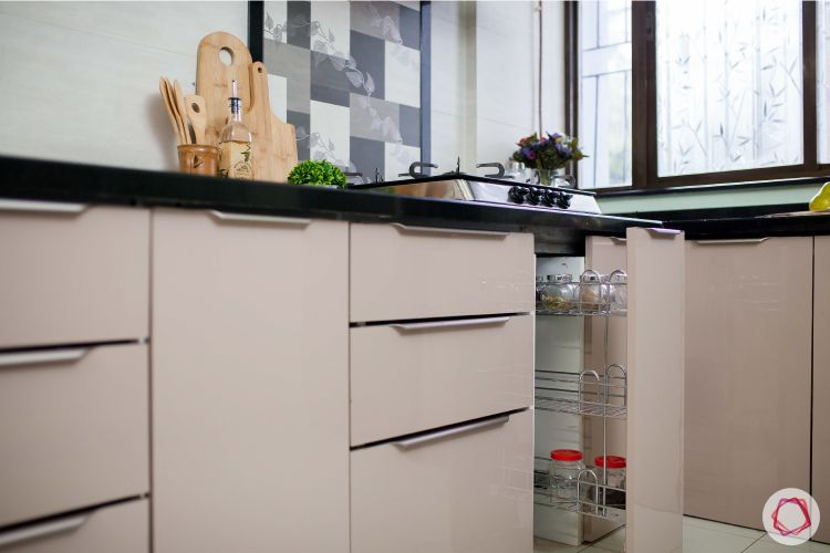 Kitchen tour-acrylic wall cabinets-open shelves-granite countertop