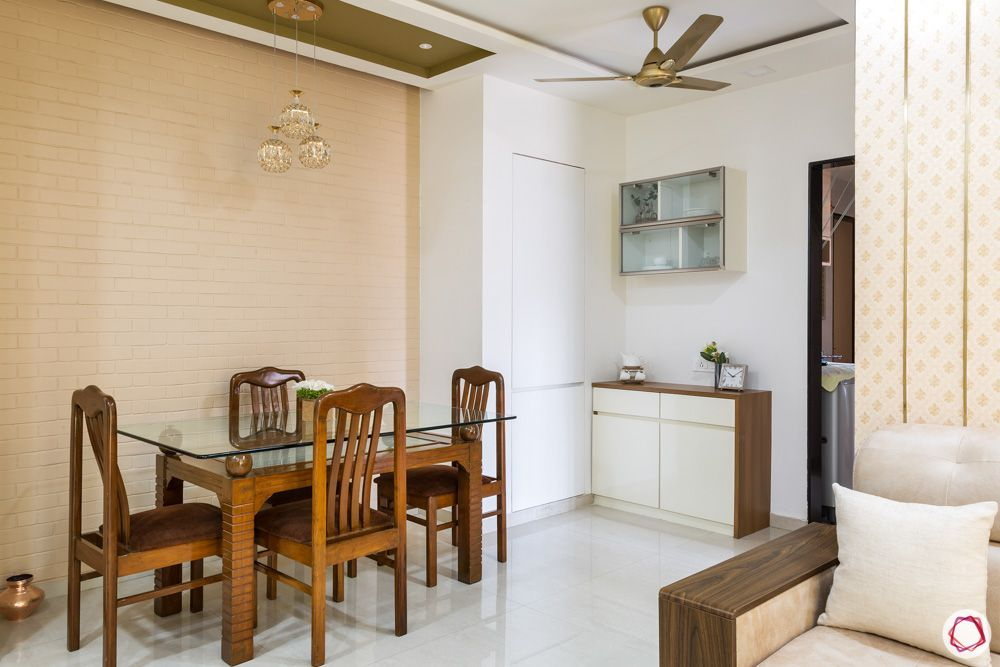 gypsum-false ceiling designs-wooden dining chairs
